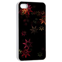 Christmas Background Motif Star Apple Iphone 4/4s Seamless Case (white)