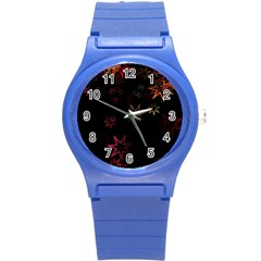 Christmas Background Motif Star Round Plastic Sport Watch (s)