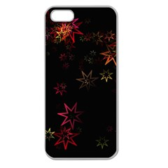 Christmas Background Motif Star Apple Seamless Iphone 5 Case (clear)