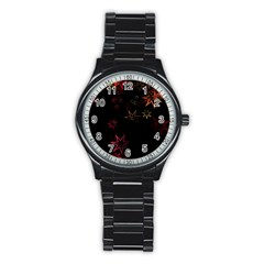 Christmas Background Motif Star Stainless Steel Round Watch
