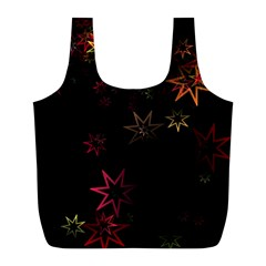 Christmas Background Motif Star Full Print Recycle Bags (l)