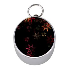 Christmas Background Motif Star Mini Silver Compasses