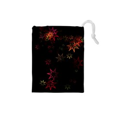 Christmas Background Motif Star Drawstring Pouches (small)