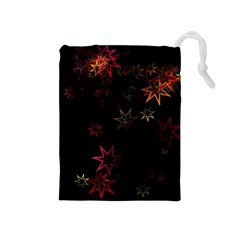 Christmas Background Motif Star Drawstring Pouches (medium)