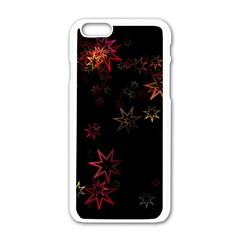 Christmas Background Motif Star Apple Iphone 6/6s White Enamel Case