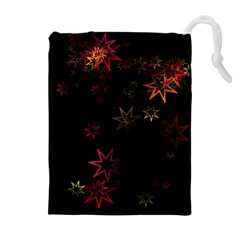Christmas Background Motif Star Drawstring Pouches (extra Large)