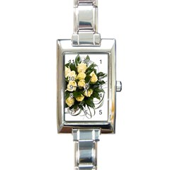 Bouquet Flowers Roses Decoration Rectangle Italian Charm Watch