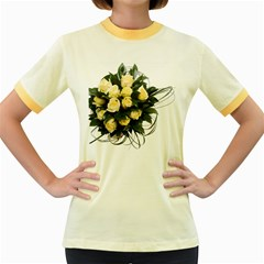 Bouquet Flowers Roses Decoration Women s Fitted Ringer T-Shirts