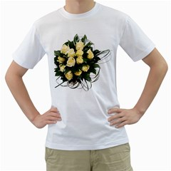 Bouquet Flowers Roses Decoration Men s T Shirt (white) (two Sided)