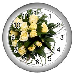 Bouquet Flowers Roses Decoration Wall Clocks (silver)