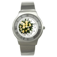 Bouquet Flowers Roses Decoration Stainless Steel Watch
