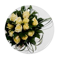 Bouquet Flowers Roses Decoration Round Ornament (two Sides)