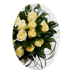 Bouquet Flowers Roses Decoration Oval Ornament (two Sides)