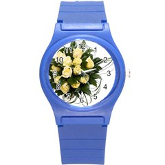 Bouquet Flowers Roses Decoration Round Plastic Sport Watch (s)