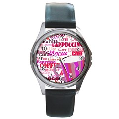 Coffee Cup Lettering Coffee Cup Round Metal Watch