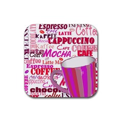 Coffee Cup Lettering Coffee Cup Rubber Square Coaster (4 Pack)
