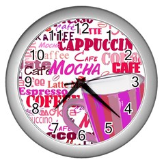 Coffee Cup Lettering Coffee Cup Wall Clocks (Silver)
