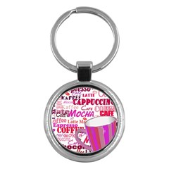 Coffee Cup Lettering Coffee Cup Key Chains (round)