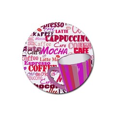 Coffee Cup Lettering Coffee Cup Rubber Coaster (round)