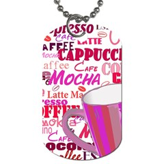 Coffee Cup Lettering Coffee Cup Dog Tag (one Side)