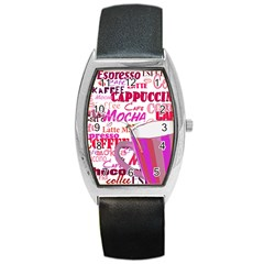 Coffee Cup Lettering Coffee Cup Barrel Style Metal Watch