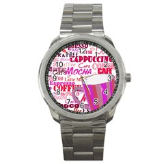 Coffee Cup Lettering Coffee Cup Sport Metal Watch