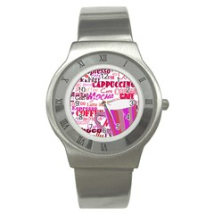 Coffee Cup Lettering Coffee Cup Stainless Steel Watch