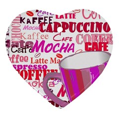 Coffee Cup Lettering Coffee Cup Heart Ornament (2 Sides)