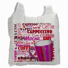 Coffee Cup Lettering Coffee Cup Recycle Bag (one Side)