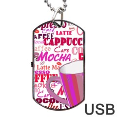 Coffee Cup Lettering Coffee Cup Dog Tag Usb Flash (one Side)