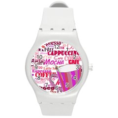 Coffee Cup Lettering Coffee Cup Round Plastic Sport Watch (m)