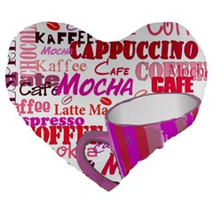 Coffee Cup Lettering Coffee Cup Large 19  Premium Heart Shape Cushions