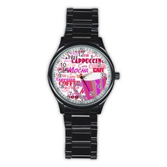 Coffee Cup Lettering Coffee Cup Stainless Steel Round Watch