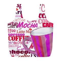 Coffee Cup Lettering Coffee Cup Full Print Recycle Bags (l)