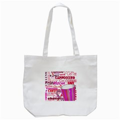 Coffee Cup Lettering Coffee Cup Tote Bag (white)