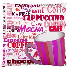 Coffee Cup Lettering Coffee Cup Large Flano Cushion Case (two Sides)