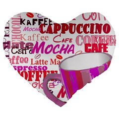 Coffee Cup Lettering Coffee Cup Large 19  Premium Flano Heart Shape Cushions