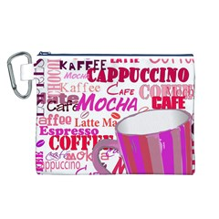 Coffee Cup Lettering Coffee Cup Canvas Cosmetic Bag (l)