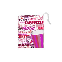 Coffee Cup Lettering Coffee Cup Drawstring Pouches (xs)