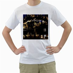 Christmas Advent Candle Arches Men s T-Shirt (White) (Two Sided)