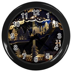 Christmas Advent Candle Arches Wall Clocks (black)