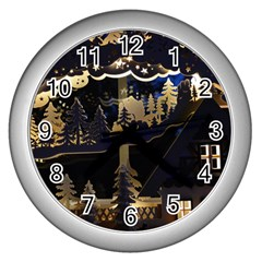 Christmas Advent Candle Arches Wall Clocks (silver)