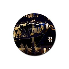 Christmas Advent Candle Arches Rubber Round Coaster (4 Pack)