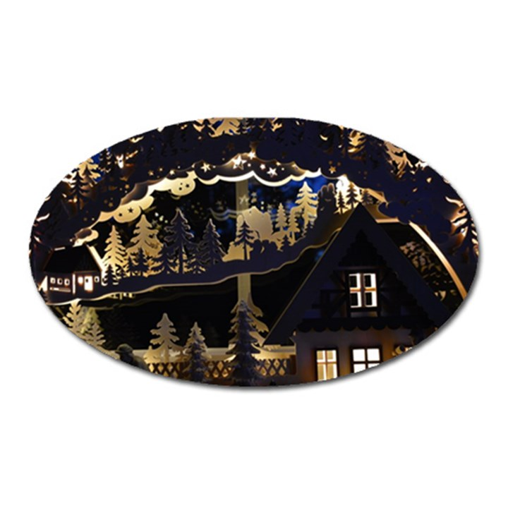 Christmas Advent Candle Arches Oval Magnet