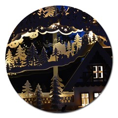 Christmas Advent Candle Arches Magnet 5  (round)