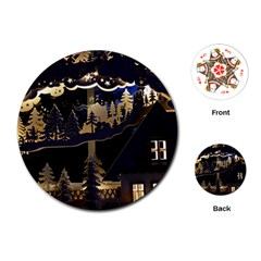 Christmas Advent Candle Arches Playing Cards (round)
