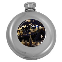 Christmas Advent Candle Arches Round Hip Flask (5 Oz)
