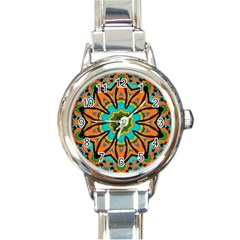 Color Abstract Pattern Structure Round Italian Charm Watch