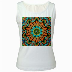 Color Abstract Pattern Structure Women s White Tank Top