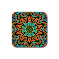 Color Abstract Pattern Structure Rubber Square Coaster (4 Pack)